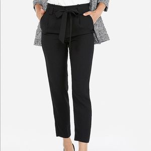 Express High-waisted sash tie ankle pant- 0 short